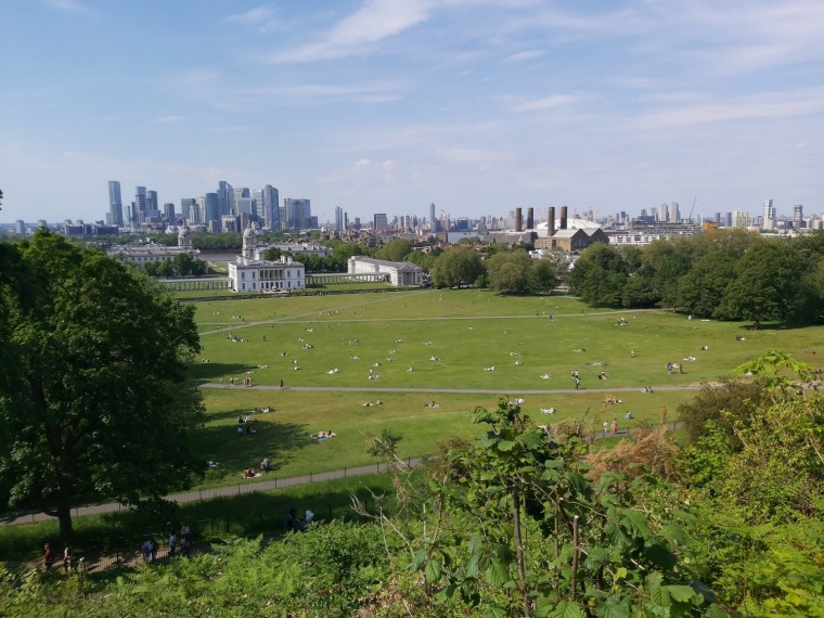 View over Greenwich Park, looking towards the Queen's House and canary wharf